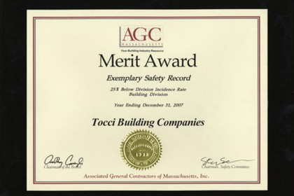 Tocci Receives AGC Merit Award for 2007