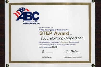 Tocci Recieves ABC Safety Award
