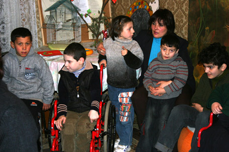 Group of children living at the Zestaponi Home for Disabled Children