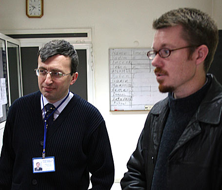 SEF director, Dr. Vadim Usvitskyl (left), with Mark Kelly (right) World Vision Armenia National Director.