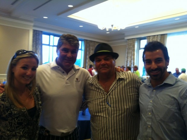 Maria Pelaggi and Justin Tierney with Ray Bourque