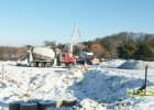 Snow has finally started to fall on the jobsite.