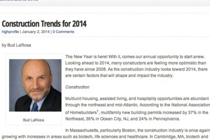 LaRosa on Construction Trends for 2014