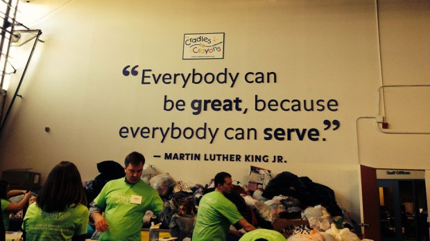 An inspirational quote sits on the warehouse wall. What a great way to remember the mission and vision.