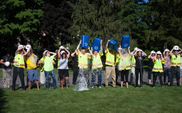 Completing the ice bucket challenge in support of ALS