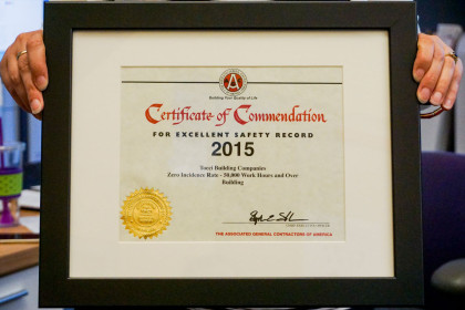 Tocci Awarded 2015 AGC Safety Award for 23rd Consecutive Year